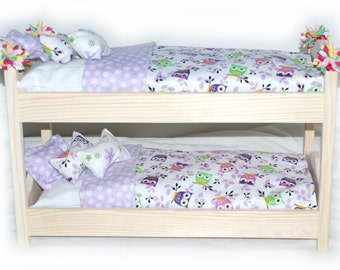 Double Doll Bunk Bed - Whoooo's There? We love Owls American Girl Furniture - Fits 18 inch dolls and AG dolls