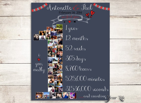 Gifts For 1 Year Wedding Anniversary: 1ST ANNIVERSARY Anniversary Photo Collage Anniversary Gift