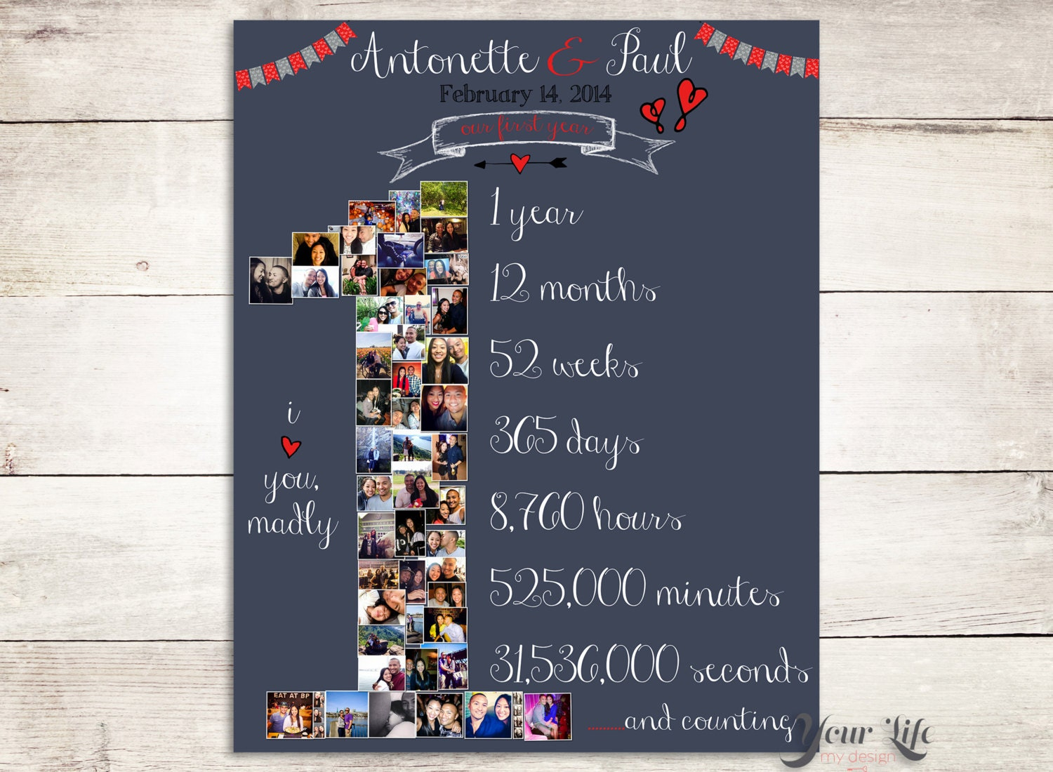 First Anniversary Gift Photo Collage Anniversary Gift For
