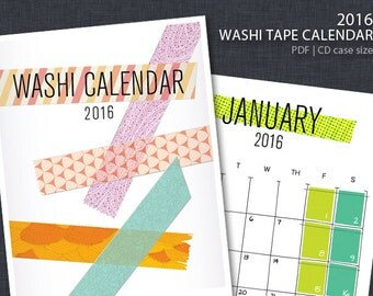 2016 PRINTABLE Washi Tape Wall Calendar
