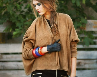 Cropped Cardigan Oversize Jacket Camel Sweater Knitted Loose Jacket Wool Cropped Cardigan Light Brown Cardigan With Long Sleeves