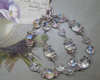 FLORENZA 2 Strand Aurora Borealis Crystal & Rhinestone Bracelet