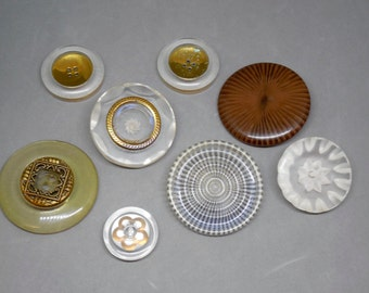 Lucite Buttons Lot of 8  Large Vintage