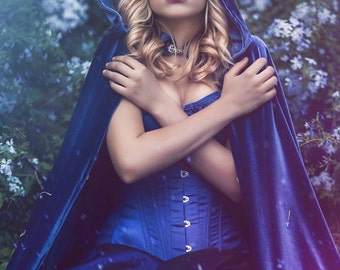 Blue Elven cloak medieval cape with hood
