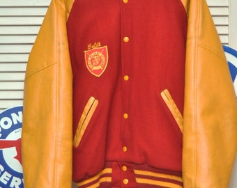 Vintage High School Lettermans Jacket/70s 80s/Large/Scarlet & Gold/Wool Leather/Theater Costume/Marine Military Academy Texas/Greaser Boys