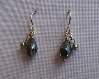 Teardrop silver coated labordorite double dangles, sterling silver earrings
