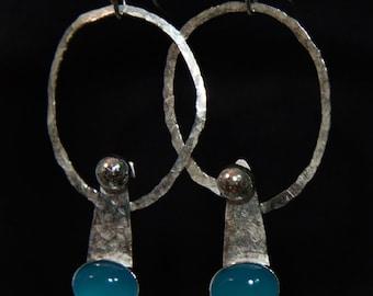 Blue chalcedony & silver earrings