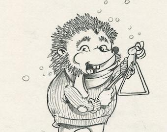 Hedgehog playing triangle sketch