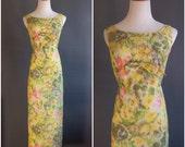 1960s column gown in watercolor floral ikat matelasse Jackie Kennedy dress Bonwit Teller yellows pinks greens silk