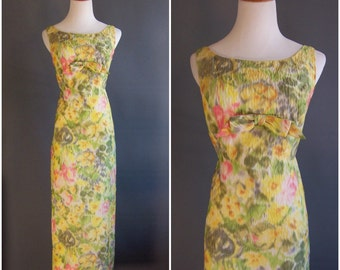 1960s column gown in watercolor floral ikat matelasse Jackie Kennedy dress Bonwit Teller yellows pinks greens silk
