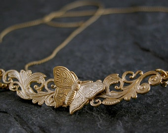 Women's Gift,Gift For Her,Bib Necklaces Gold Jewelry, Gold Wedding Necklace ,Handmade filigree leaf Butterfly Necklace, Gold Wedding Jewelry