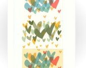 A4 Rainbow Hearts Multicolour Bold Retro Print // Bright Pop Art Style Poster // Heart print