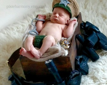 Newborn Photo Prop - POLICEMAN or FIREMAN or Sheriff - Baby Boy Girl Hat and Cape Or Diaper Cover - Reborn Doll Clothes - Made to Order
