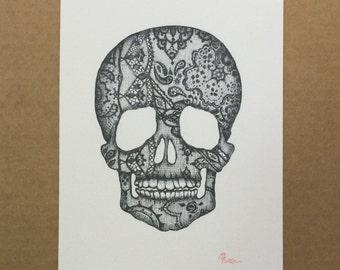 Watercolor/Ink-Anatomy-Laced Skull (Black)