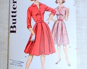 Vintage Pattern Butterick 9822 dress sewing inverted pleat full skirt Dress Shirt Shirtwaist 1950s Bust 32 1950s Rockabilly retro peter pan