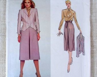 Vogue American Designer 2365 Bill Kaiserman 1980s vintage suit blazer jacket skirt Sewing pattern Tie neck New Wave Uncut