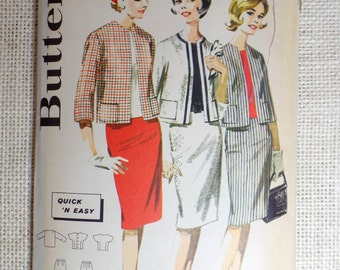 Vintage Pattern 1960s Butterick 2607 Sewing Two piece dress suit Stewardess First Lady Jackie Kennedy Bust 38 jacket shell pillbox