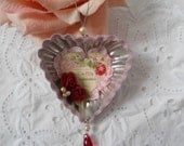 Vintage Tart Tin Ornament Valentines Day Red Roses Pearls