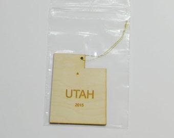 Natural Wood Utah State Ornament WITH 2015