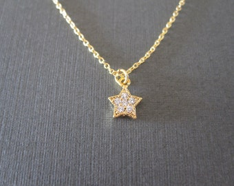Tiny Gold CZ Star Necklace