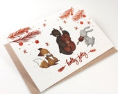 Holiday Cards - Holly Jolly - 10 Copper Foil Greeting Cards