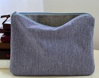 Tech Case in Navy Pinstripe - zipper pouch blue stripes mens womens ereader ipad mini matching set travel cosmetic luggage purse diaper bag