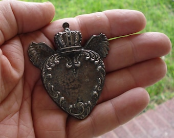 Large Sacred Flaming Heart With Wings n Crown Charm Milagro  Milagros Ex voto Nicho Antique Gold/Silver