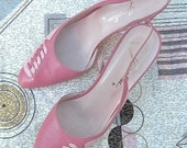 7, 7.5 ballet pink heels, d'orsay, woven leather