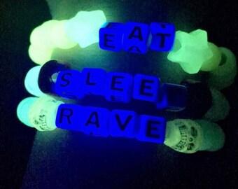 Glow in the dark rave kandi bracelets- Eat, Sleep, Rave