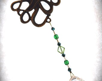 Octopus & Crystal Ornament Metal Hanging Beaded Ornament Feng Shui Sparkles GREEN