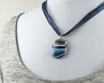 Pebble Pendant, blue glass pebble necklace, statement jewellery