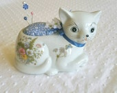 Porcelain CAT Kitty Pincushion made from vintage FERN TAKAHASHI planter - white cat pincushion - upcycled recycled repurposed -