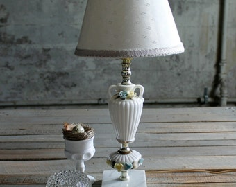 Vintage Floral White Urn and Marble Lamp Base