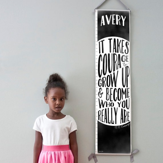 "Custom/ Personalized Black and white ""It takes courage to grow up"" growth chart - Perfect for gender neutral nursery or big girl or boy room"