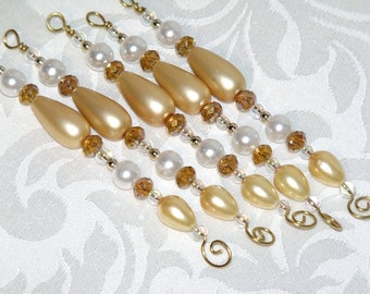 Vintage Style Gold and White Icicle Ornaments – white Christmas holiday decor