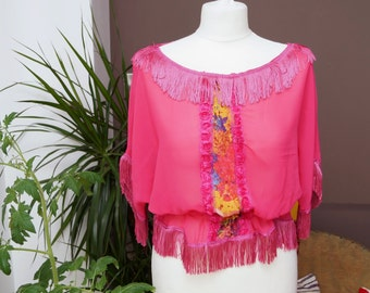 womens pink top with floral detail