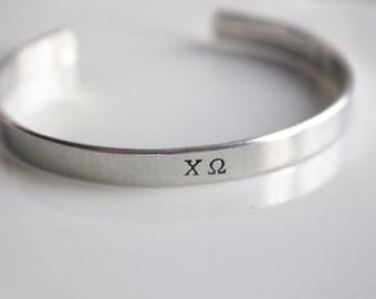 Chi Omega Letters bracelet / Hand Stamped Aluminium Bracelet with Chi O Greek Letters / Sorority Letters Bracelet Greek Licensed
