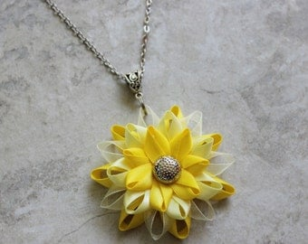 Yellow Necklace, Yellow Jewelry, Yellow Flower Necklace, Bright and Pale Yellow Bridesmaid Necklaces, Matching Earrings, Necklace Earrings