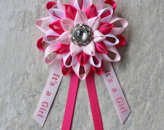 Its a Girl Pin, Baby Shower Corsage, Baby Girl Shower Decorations, Pale Pink, Hot Pink, White, New Mom Gift, Mommy to Be Corsage, Mom to Be