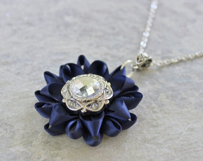 Navy Blue Necklace, Navy Blue Jewelry, Navy Blue Bridesmaid Necklace, Navy and Silver Wedding, Navy Blue Flower Necklace, Navy Blue Pendant