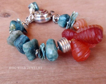 Womens Handcrafted Artisan Carnelian Chrysocolla Gemstone Sterling Silver Bracelet Dichroic Glass Clasp
