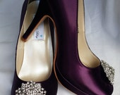 Purple Wedding Shoes Closed Toe Bridal Shoes with Flower Crystal Brooch - Dyeable Bridal Shoes - Pick your Color