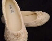 Wedding Shoes Ballet Flats with Lace and Pearls Ivory Bridal Ballet Flats