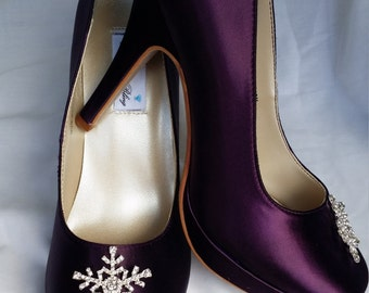 Purple Wedding Shoes Closed Toe Bridal Shoes with Sparkling Snowflake Crystal Brooch - Dyeable Bridal Shoes - Pick your Color