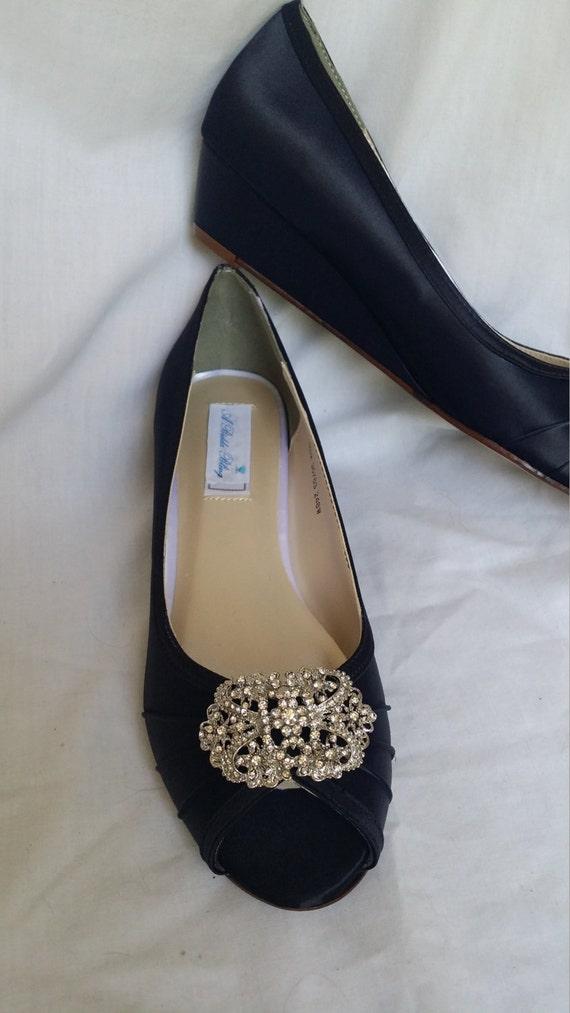 items similar to wedding shoes black wedge shoes bridal