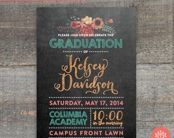 Graduation Party Invitation Printable File, Graduation Party, Birthday Party, Lingerie Shower, Wedding Shower, Bridal Shower, Print at Home