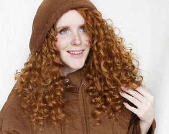 SALE Lace Front Brown wig | Caramel Brown wig | Curly Reddish Brown Lace Front wig | Natural Curly wig | Fall Harvest