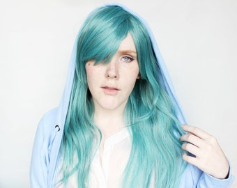 SALE Long Teal wig | Wavy Green wig with bangs | Cosplay wig, Scene wig | Scene Emo wig | Sea Lights