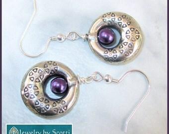 Purple Pearl Pewter Dangle Earrings with Sterling Silver Filled Hooks, Czech Purple Glass Bead Earrings, Etched Pewter Earrings, Gypsy Style