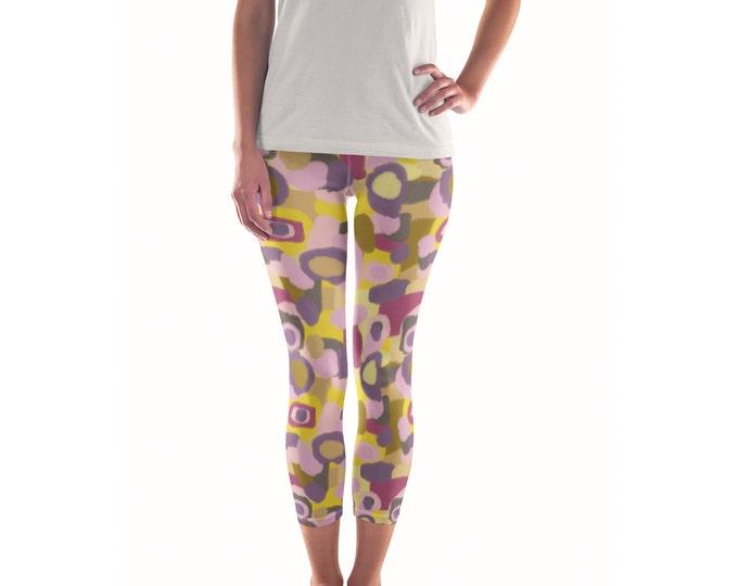 Purple Rain Cherry Moon Artist Leggings // ethical bold stylish yoga pants designer leggings in abstract painted patterns by lisa barbero